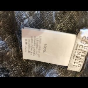 Brunello Cucinelli Accessories - Brunello Cucinelli gray black flowers linen scarf